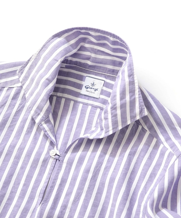 【公式/ナノ・ユニバース】ストライプリネンカプリシャツ 5000円以上送料無料【GIANGI】