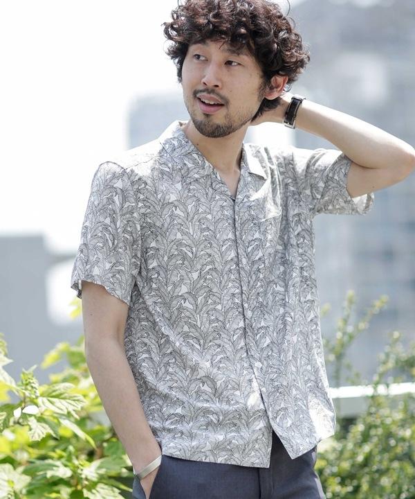 《WEB限定》リーフグラフィックオープンカラーシャツ半袖 5000円以上送料無料【公式/ナノ・ユニバース】